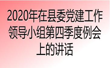 2020年在县委党建工作领导小组第四季度例会上的讲话