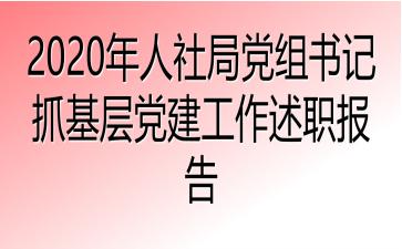 2020年人社局党组书记抓基层党建工作述职报告