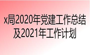 x局2020年党建工作总结及2021年工作计划