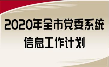 2020年全市党委系统信息工作计划