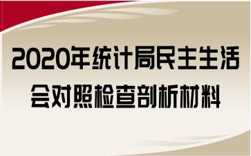 2020年统计局民主生活会对照检查剖析材料