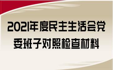 2021年度民主生活会党委班子对照检查材料
