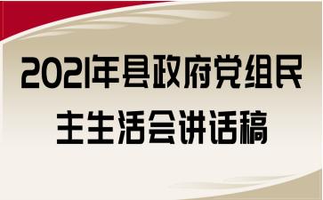 2021年县政府党组民主生活会讲话稿