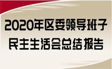 2020年区委领导班子民主生活会总结报告
