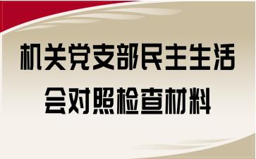 机关党支部民主生活会对照检查材料