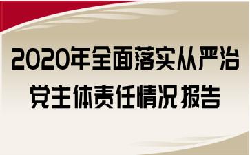 2020年全面落实从严治党主体责任情况报告