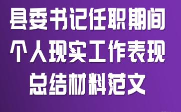 县委书记任职期间个人现实工作表现总结材料范文