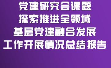 党建研究会课题探索推进全领域基层党建融合发展工作开展情况总结报告