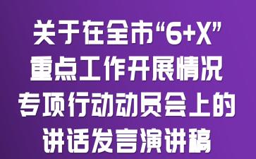 """关于在全市""""6+X""""重点工作开展情况专项行动动员会上的讲话发言演讲稿"""